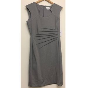 Calvin Klein Gray Fitted Pleated Dress size 8